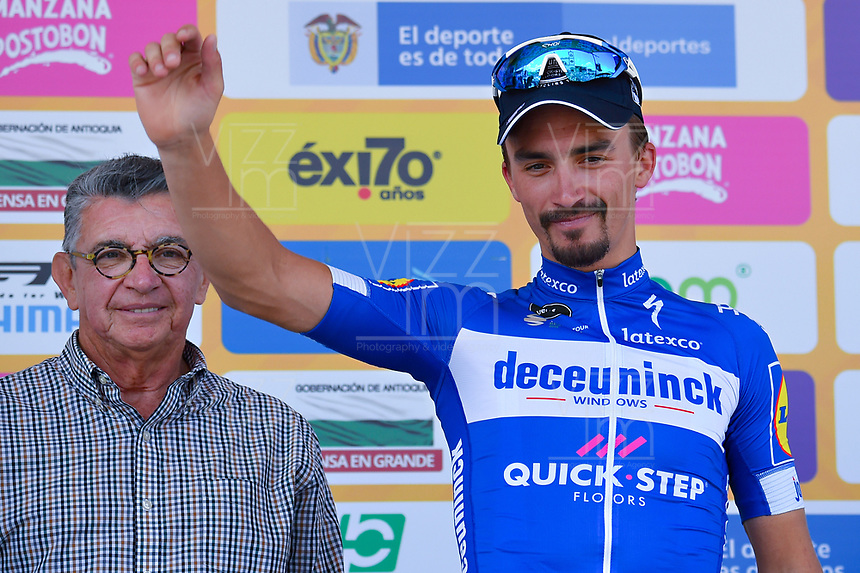 LA UNION - COLOMBIA, 16-02-2019: Julian ALAPHILIPPE (FRA), Deceuninck - Quick Step Floors, celebra como ganador de la quinta etapa del Tour Colombia 2.1 2019 con un recorrido de 176.8 Km, que se corrió con salida y llegada en La Union, Antioquia. / Julian ALAPHILIPPE (FRA), Deceuninck - Quick Step Floors, celebrates as winner of the fifth stage of 176.8 km of Tour Colombia 2.1 2019 that ran with start and arrival in La Union, Antioquia.  Photo: VizzorImage / Eder Garces / Fedeciclismo Prensa / Cont