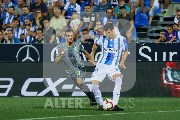 Leganes' Ezequiel Matias Munoz and Real Sociedad's Juan Miguel Jimenez during La Liga match. August 24, 2018. (ALTERPHOTOS/A. Perez Meca)