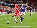 George Friend of Middlesbrough in action with Ched Evans of Sheffield Utd during the Sky Bet Championship match at the Riverside Stadium, Middlesbrough. Picture date: August 12th 2017. Picture credit should read: Jamie Tyerman/Sportimage