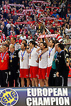 Denmark handball players listen to teh national anthem after final men`s EHF EURO 2012 handball championship game against Serbia in Belgrade, Serbia, Sunday, January 29, 2011.  (photo: Pedja Milosavljevic / thepedja@gmail.com / +381641260959)