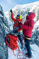 Nick Bullock and Keith Ball at a belay high up on Hanging Garden, VII 8, No. 3 Gully Buttress, Ben Nevis, Scotland
