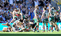 Aviva Premiership Final .Twickenham, England.Harlequins players celebrate their victory as the final whistle blows during the Aviva Premiership final between Harlequins and Leicester Tigers at Twickenham Stadium on May 26, 2012 in London, England.