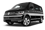Stock pictures of low aggressive front three quarter view of 2016 Volkswagen Multivan Comfortline BMT 5 Door Passenger Van Low Aggressive