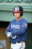 Second baseman Derian Cruz (7) of the Rome Braves takes batting practice before a game against the Greenville Drive on Saturday, April 14, 2018, at Fluor Field at the West End in Greenville, South Carolina. Rome won, 4-0. (Tom Priddy/Four Seam Images)