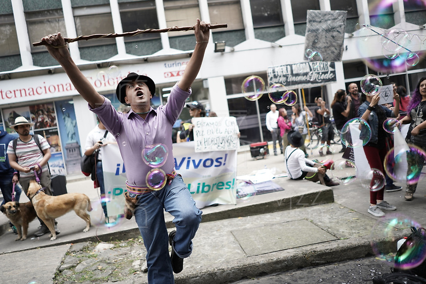 BOGOTA - COLOMBIA, 14-02-2019: Cientos de personas protestan hoy, 14 de febrero de 2019, frente al Ministerio del Medio Ambiente de Colombia, para llamar la atención soibre la grave situación ambiental que se vive en la cuenca media y baja del Río Cauca debido al proyeco hidroeléctrico de Ituango, Antioquia. / Hundred of people protest today, February 14, 2019, in front of the Environmental Ministry of Colombia to draw the attention over the environmental situation of the middle and lower river basin of Cauca river caused by hydroelectric project of Ituango, Antioquia. Photo: VizzorImage / Diego Cuevas / Cont