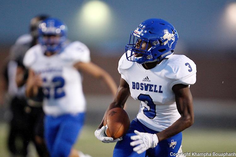 Boswell junior receiver Breshun Berry makes a 44-yard touchdown reception in the second quarter against Birdville in high school football in North Richland Hills on Thursday, September 8, 2016. Birdville won 35-13.