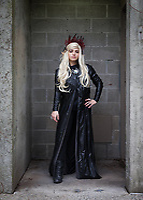 Beautiful Blonde Girl in Long Black Leather Jacket, Emerald City Comicon 2017, Seattle, WA, USA.