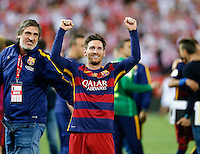 FC Barcelona´s Argentinean forward Lionel Messi  celebrating afer winning the final of Copa del Rey