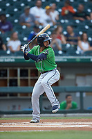 Jack Lopez (1) of the Gwinnett Braves at bat against the Charlotte Knights at BB&T BallPark on July 12, 2019 in Charlotte, North Carolina. The Stripers defeated the Knights 9-3. (Brian Westerholt/Four Seam Images)