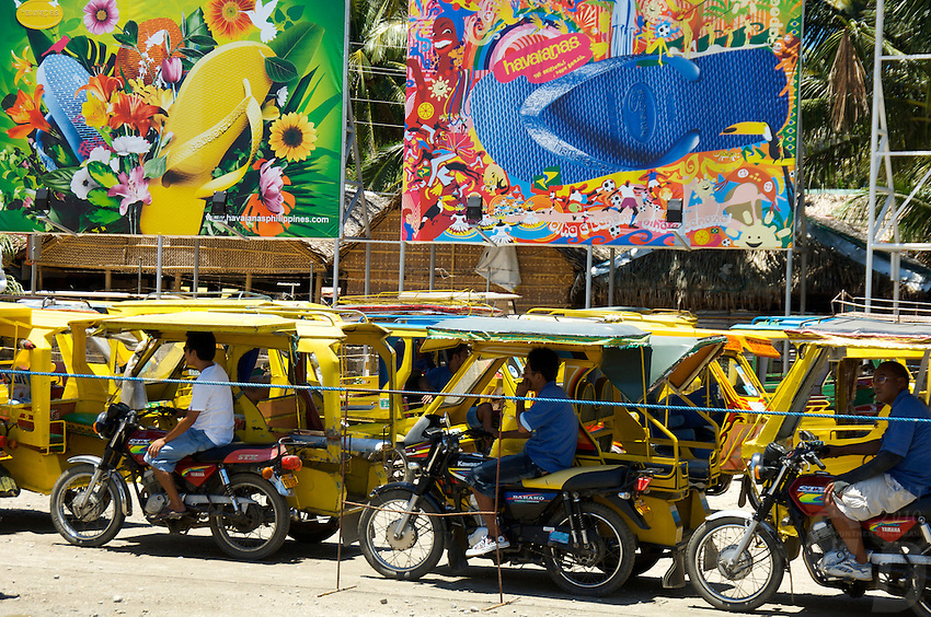 BORACAY ISLAND PHILIPPINES, Tricicle drivers lined up and waiting for the tourist