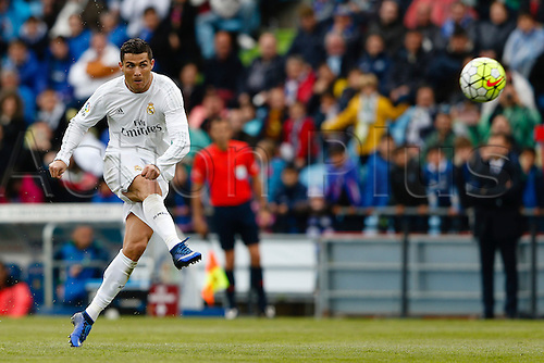 16.04.2016. Madrid, Spain.  Cristiano Ronaldo dos Santos (7) Real Madrid. Liga match between Getafe CF and Real Madrid at the Coliseum Alfonso Perez stadium in Madrid, Spain, April 16, 2016 .