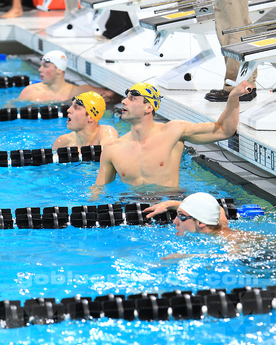 The University of Michigan's men's swimming and diving team finished in first place at the 2012 Big Ten Championships in Iowa City, Iowa, on February 25, 2012.