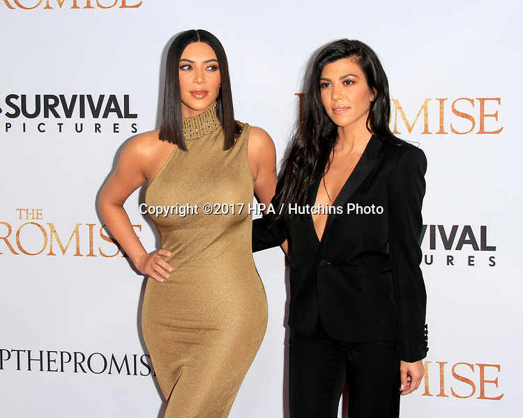 """LOS ANGELES - APR 12:  Kim Kardashian, Kourtney Kardashian at the """"The Promise"""" Premiere at the TCL Chinese Theater IMAX on April 12, 2017 in Los Angeles, CA"""