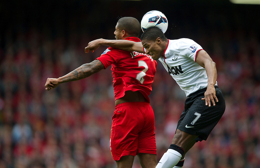 Manchester United's Luis Antonio Valencia and Liverpool's Glen Johnson ..Football - Barclays Premiership - Liverpool v Manchester United - Sunday 23rd September 2012 - Anfield - Liverpool..
