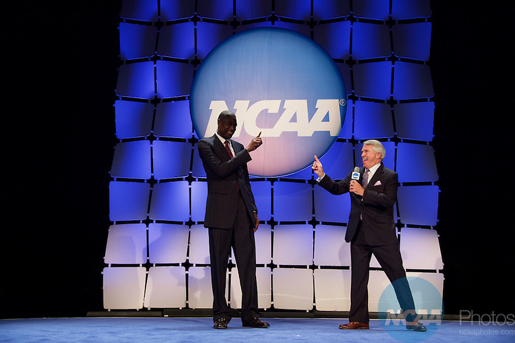 15 JAN 2016:  The NCAA Honor's Celebration takes place during the 2016 NCAA Convention at the Grand Hyatt San Antonio in San Antonio, TX.   Jamie Schwaberow/NCAA Photos  (Pictured:  Dikembe Mutombo)