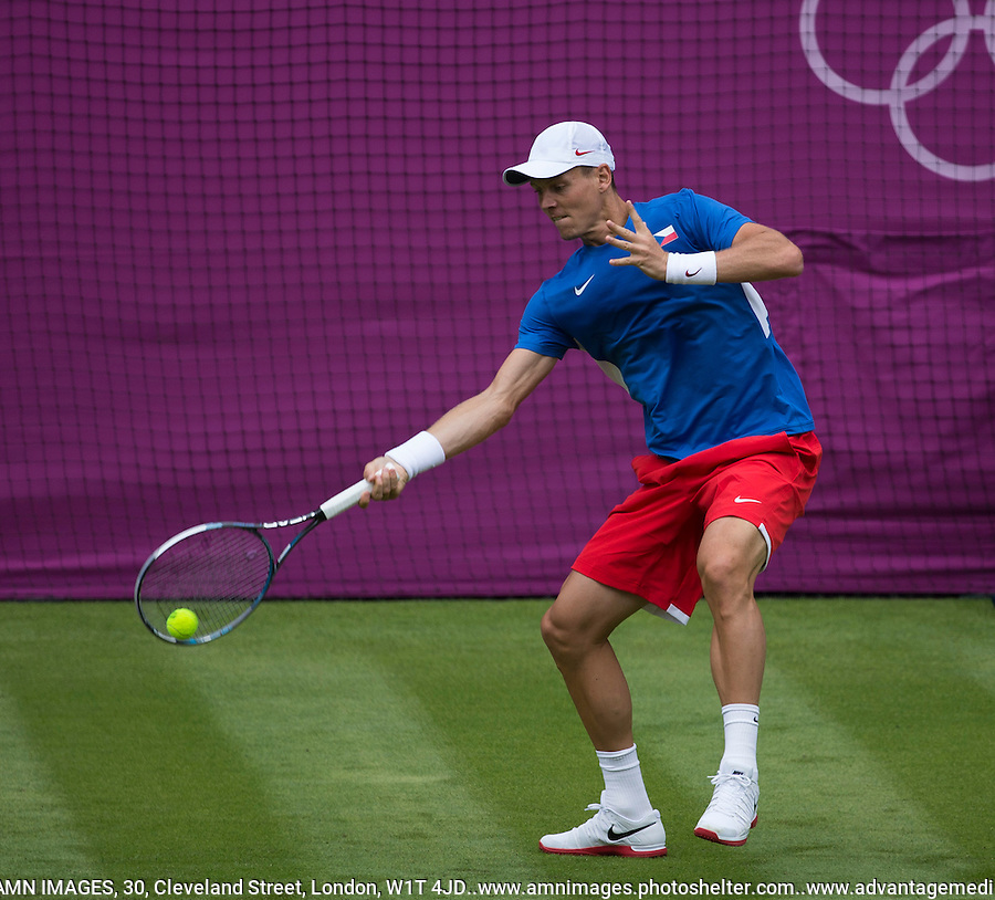 Tomas Berdych - CZE..Tennis - OLympic Games -Olympic Tennis -  London 2012 -  Wimbledon - AELTC - The All England Club - London - Saturday 28th June  2012. .© AMN Images, 30, Cleveland Street, London, W1T 4JD.Tel - +44 20 7907 6387.mfrey@advantagemedianet.com.www.amnimages.photoshelter.com.www.advantagemedianet.com.www.tennishead.net