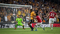Anthony Martial of Man Utd scores a goal 1-0 during the Premier League match between Wolverhampton Wanderers and Manchester United at Molineux, Wolverhampton, England on 19 August 2019. Photo by Andy Rowland.