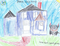 """""""Please Stay Home"""" Drawing by Liesl Sharp, Grade 1, Yarmouth, ME, USA"""