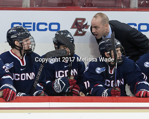 Mike Cavanaugh (UConn - Head Coach) - The Boston College Eagles defeated the visiting UConn Huskies 2-1 on Tuesday, January 24, 2017, at Kelley Rink in Conte Forum in Chestnut Hill, Massachusetts.