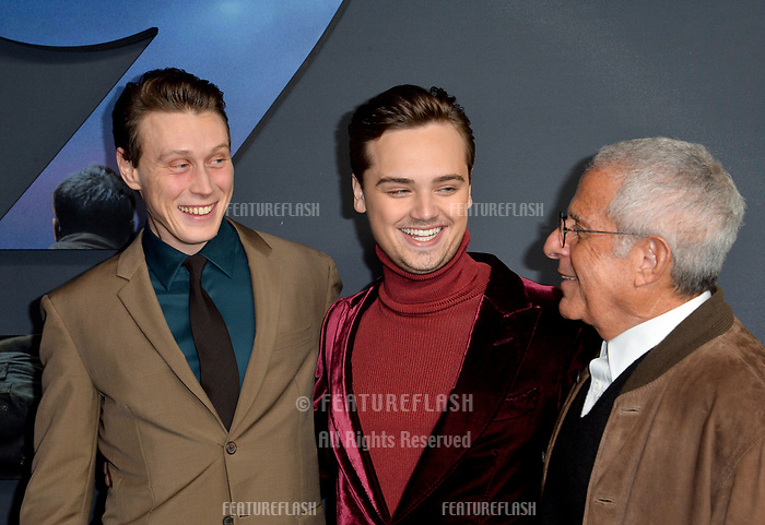 "LOS ANGELES, USA. December 19, 2019: George MacKay, Dean-Charles Chapman & Ron Meyer at the premiere of ""1917"" at the TCL Chinese Theatre.<br /> Picture: Paul Smith/Featureflash"