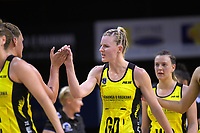 Katrina Grant congratulates goalshoot Cathrine Tuivaiti during the ANZ Premiership netball match between the Central Pulse and Northern Stars at TSB Bank Arena in Wellington, New Zealand on Monday, 8 May 2017. Photo: Dave Lintott / lintottphoto.co.nz