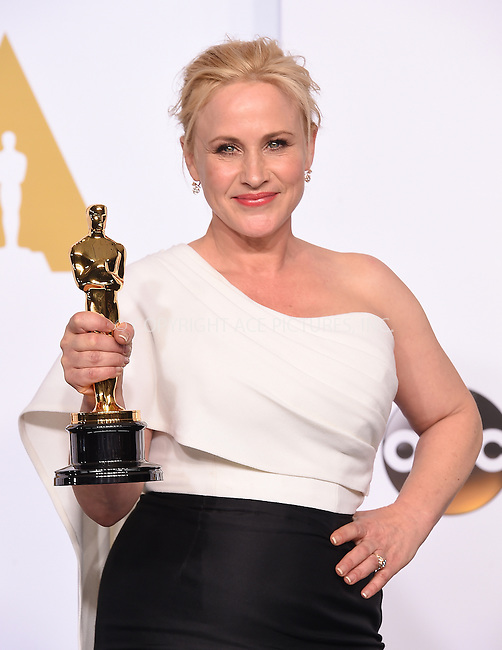 WWW.ACEPIXS.COM<br /> <br /> February 22 2015, LA<br /> <br /> Actress Patricia Arquette in the press room at the 87th Annual Academy Awards at Loews Hollywood Hotel on February 22, 2015 in Hollywood, California. <br /> <br /> By Line: Z15/ACE Pictures<br /> <br /> <br /> ACE Pictures, Inc.<br /> tel: 646 769 0430<br /> Email: info@acepixs.com<br /> www.acepixs.com