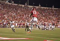 Hawgs Illustrated/BEN GOFF <br /> Deon Stewart, Arkansas wide receiver, catches a touchdown pass against Florida A&M Thursday, Aug. 31, 2017, at War Memorial Stadium in Little Rock.