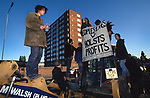 Road Protest actions around the M65 extension. This involved protecting and squatting a group of houses, and also squatting treehouses in the forest at  Stanworth Valley Preston Lancashire. 1995<br />
