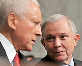 Washington, DC - July 14, 2009 -- United States Senators Orrin Hatch (Republican of Utah), left, and Jeff Sessions (Republican of Alabama), right, discuss the testimony of Judge Sonia Sotomayor before the U.S. Senate Judiciary Committee considering her nomination as Associate Justice of the U.S. Supreme Court on Tuesday, July 14, 2009..Credit: Ron Sachs / CNP