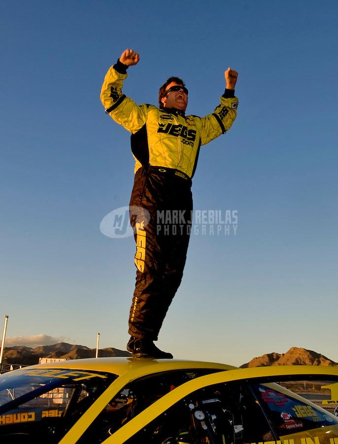 Nov. 2, 2008; Las Vegas, NV, USA: NHRA pro stock driver Jeg Coughlin Jr celebrates after winning the Las Vegas Nationals at The Strip in Las Vegas. Mandatory Credit: Mark J. Rebilas-