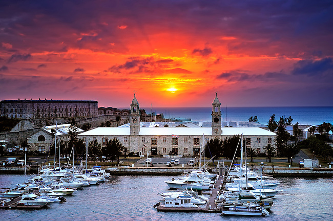 Sunset image of Royal Naval Dockyard in King's Wharf, Bermuda
