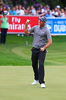 Nicolas Colsaerts celebrates his putt on the 18th green during the BMW PGA Golf Championship at Wentworth Golf Course, Wentworth Drive, Virginia Water, England on 28 May 2017. Photo by Steve McCarthy/PRiME Media Images.