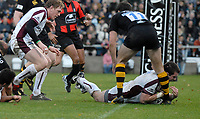 Wycombe. GREAT BRITAIN, Tigers,  Shane JENNINGS, touches down, in the first half, during the, Guinness Premiership game between, London Wasps and Leicester Tigers on 25/11/2006, played at the Adam Park, ENGLAND. Photo, Peter Spurrier/Intersport-images]