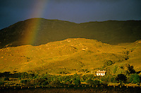 Farm cottage and rainbow in County Donegal, Ireland, AGPix_0138.