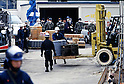 April, 1995, Kamikuisshiki Mura, Japan - Police confiscate explosives, chemical weapons and biological warfare agents during a raid on Aum's facility - No. 2 Satyam - on the foot of Mt. Fuji in April 1995. On the morning of 20 March 1995, cult members released sarin in a coordinated attack on five trains in the Tokyo subway system, killing 13 commuters, seriously injuring 54 and affecting 980 more. Some estimates claim as many as 6,000 people were injured by the sarin.  (Photo by Haruyoshi Yamaguchi/AFLO)