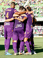 11th January 2020; HBF Park, Perth, Western Australia, Australia; A League Football, Perth Glory versus Adelaide United; Perth Glory players celebrate with Bruno Fornaroli Mezza after he scored to make the score 2-0 - Editorial Use