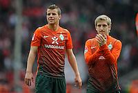 FUSSBALL   1. BUNDESLIGA   SAISON 2011/2012   29. SPIELTAG 1. FC Koeln - SV Werder Bremen                           07.04.2012 Lukas Schmitz (li) und Marko Marin (re, beide SV Werder Bremen) sind nach dem Abpfiff enttaeuscht