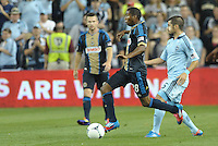 Union defender Raymon Gaddis (280 in action..Sporting Kansas City defeated Philadelphia Union 2-1 at LIVESTRONG Sporting Park, Kansas City, KS.