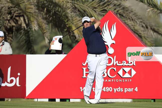 Shane Lowry (IRL) tees off the 14th tee during Friday's Round 2 of the Abu Dhabi HSBC Golf Championship at Abu Dhabi Golf Club, 18th January 2013 (Photo Eoin Clarke/www.golffile.ie)