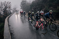 A group with Mathew Hayman (AUS/Michelton-Scott), Gregory Rast (SUI/Trek-Segafredo) & Esteban Chavez (COL/Michelton-Scott) emerge from the mist<br /> <br /> 76th Paris-Nice 2018<br /> Stage 8: Nice > Nice (110km)