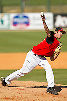 Kannapolis Intimidators relief pitcher Steven Upchurch #25 in action against the Hickory Crawdads at CMC-Northeast Stadium on April 8, 2012 in Kannapolis, North Carolina.  The Intimidators defeated the Crawdads 12-11.  (Brian Westerholt/Four Seam Images)