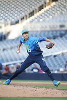 Hans Crouse (27) of the West Team pitches against the East Team during the Perfect Game All American Classic at Petco Park on August 14, 2016 in San Diego, California. West Team defeated the East Team, 13-0. (Larry Goren/Four Seam Images)