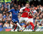 Ngolo Kante of Chelsea and Aaron Ramsey of Arsenal during the premier league match at Stamford Bridge Stadium, London. Picture date 17th September 2017. Picture credit should read: David Klein/Sportimage