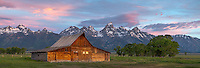 Grand Teton National Park, Wyoming: <br /> Summer dawn light on the T.A. Moulton barn at Mormon Row - Antelope Flats
