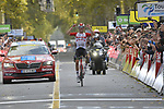 Jelle Wallays (BEL) Lotto-Soudal wins solo the 113th edition of Paris-Tours 2019, running 217km from Chartres to Tours, France. 13th October 2019.<br /> Picture: ASO/Bruno Bade | Cyclefile<br /> All photos usage must carry mandatory copyright credit (© Cyclefile | ASO/Bruno Bade)