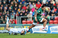 Manu Tuilagi gets past the attempted tackle of Jack Nowell. Aviva Premiership match, between Leicester Tigers and Exeter Chiefs on March 23, 2014 at Welford Road in Leicester, England. Photo by: Patrick Khachfe / JMP