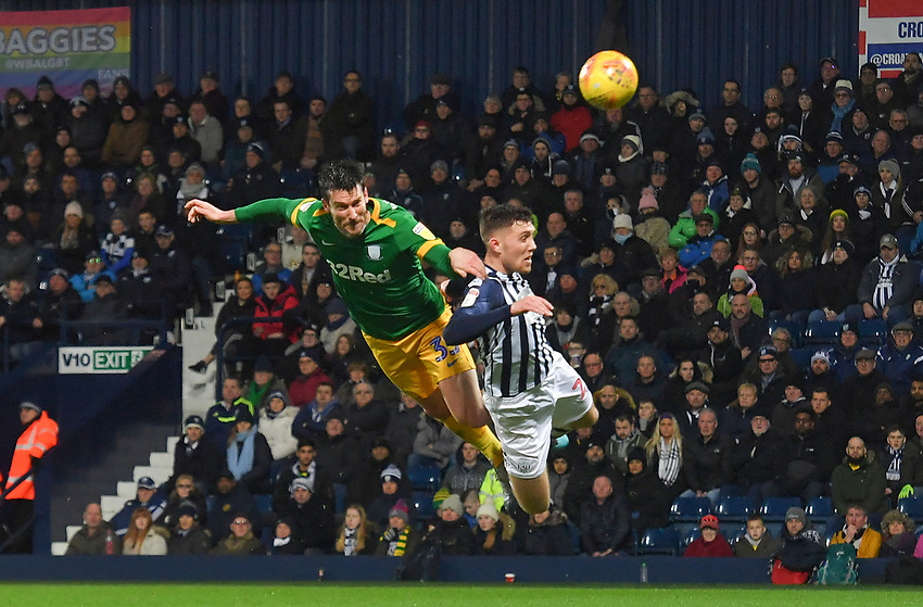 Preston North End's David Nugent has an acrobatic attempt on goal<br /> <br /> Photographer Dave Howarth/CameraSport<br /> <br /> The EFL Sky Bet Championship - West Bromwich Albion v Preston North End - Tuesday 25th February 2020 - The Hawthorns - West Bromwich<br /> <br /> World Copyright © 2020 CameraSport. All rights reserved. 43 Linden Ave. Countesthorpe. Leicester. England. LE8 5PG - Tel: +44 (0) 116 277 4147 - admin@camerasport.com - www.camerasport.com