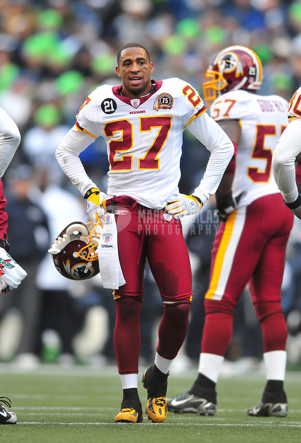 Jan. 5, 2008; Seattle, WA, USA; Washington Redskins cornerback Fred Smoot (27) against the Seattle Seahawks during the NFC wild card game at Qwest Field. Seattle defeated Washington 35-14. Mandatory Credit: Mark J. Rebilas-US PRESSWIRE