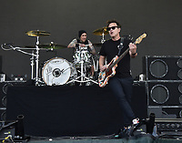 SAN FRANCISCO, CALIFORNIA - AUGUST 09: Blink 182 - Mark Hoppus and Travis Barker perform during the 2019 Outside Lands music festival at Golden Gate Park on August 09, 2019 in San Francisco, California. Photo: imageSPACE/MediaPunch<br /> CAP/MPI/ISAB<br /> ©ISAB/MPI/Capital Pictures