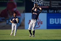 Connecticut Tigers shortstop Will Savage (8) catches a pop up during a game against the Auburn Doubledays on August 8, 2017 at Falcon Park in Auburn, New York.  Auburn defeated Connecticut 7-4.  (Mike Janes/Four Seam Images)